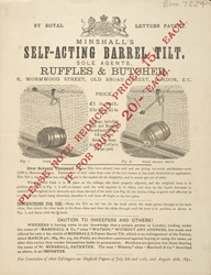 Advert For Minshall's Self Acting Barrel Tilt